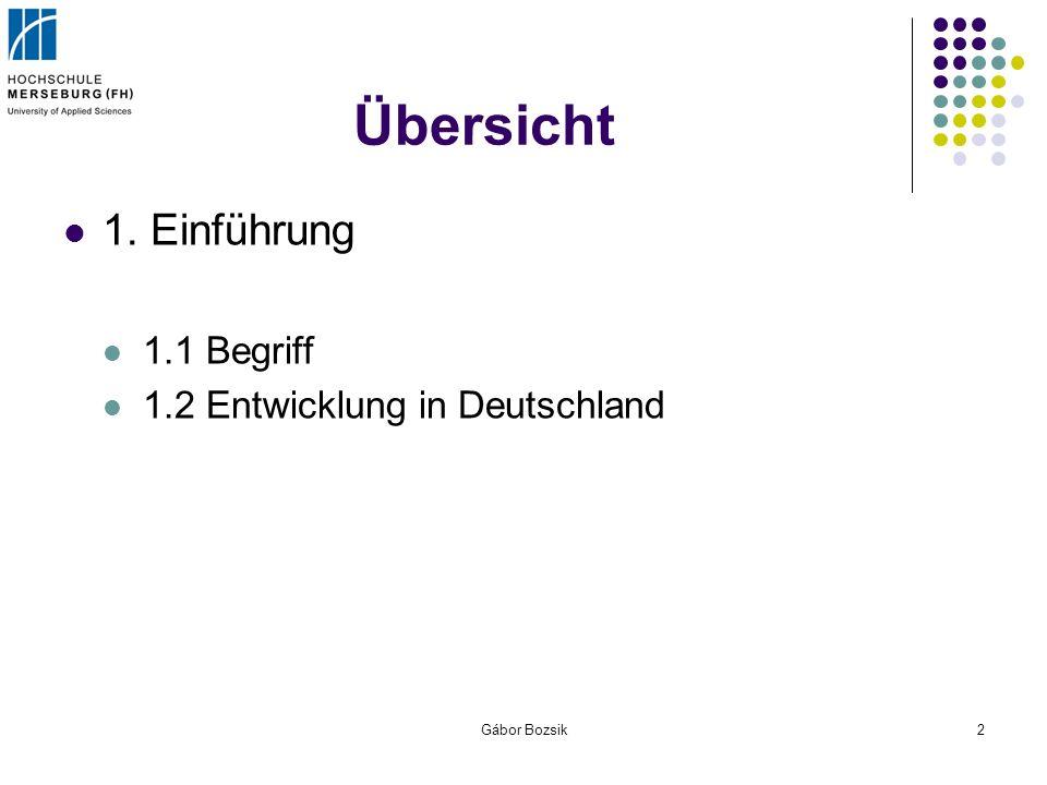 Übersicht 1. Einführung 1.1 Begriff 1.2 Entwicklung in Deutschland