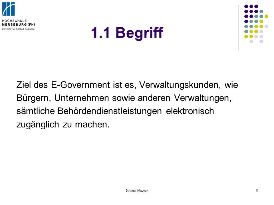 1.1 Begriff Ziel des E-Government ist es, Verwaltungskunden, wie