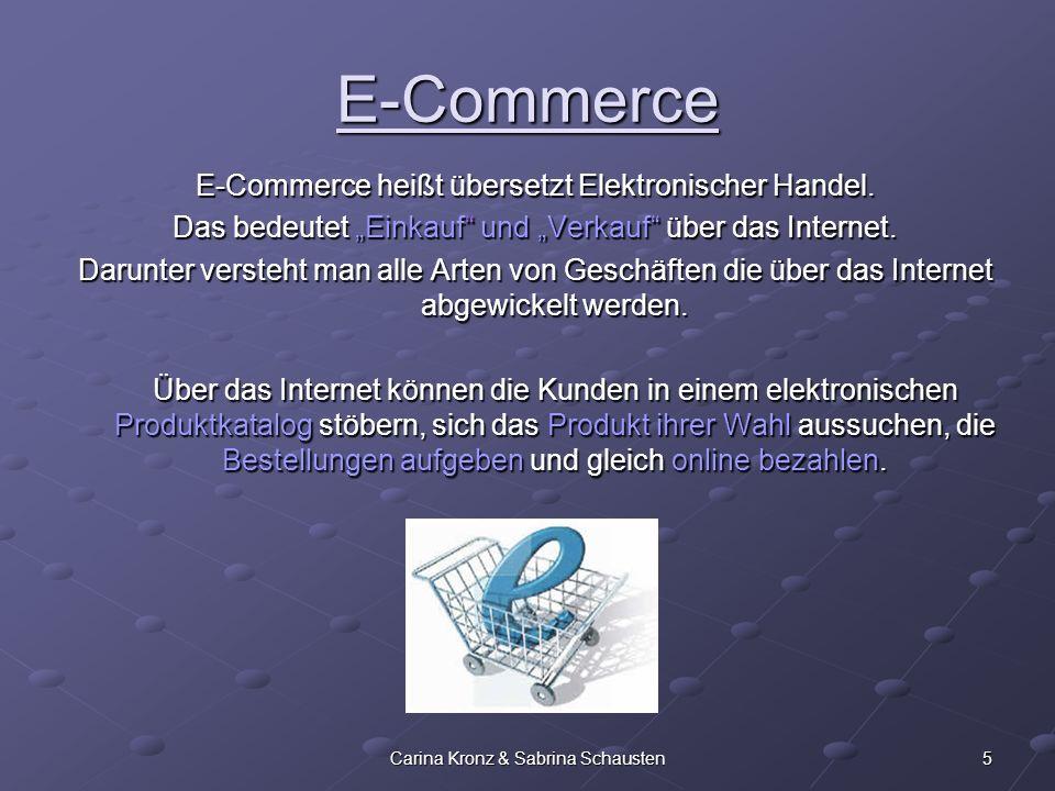 E-Commerce E-Commerce heißt übersetzt Elektronischer Handel.