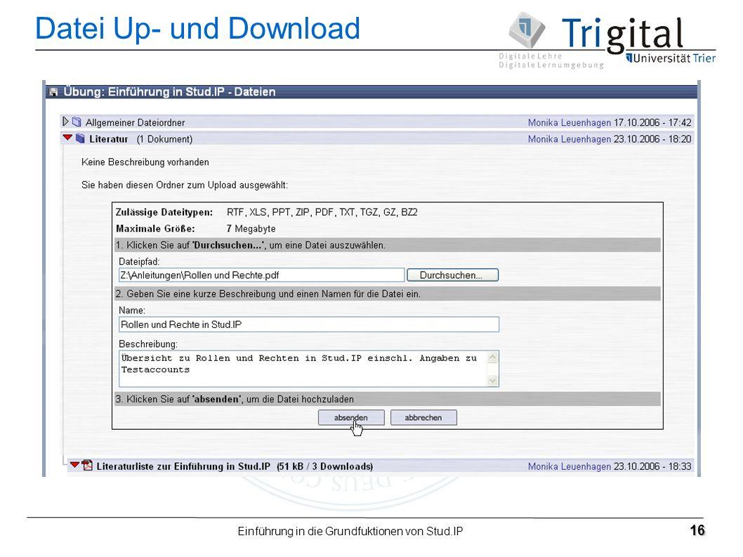 Einführung in die Grundfuktionen von Stud.IP