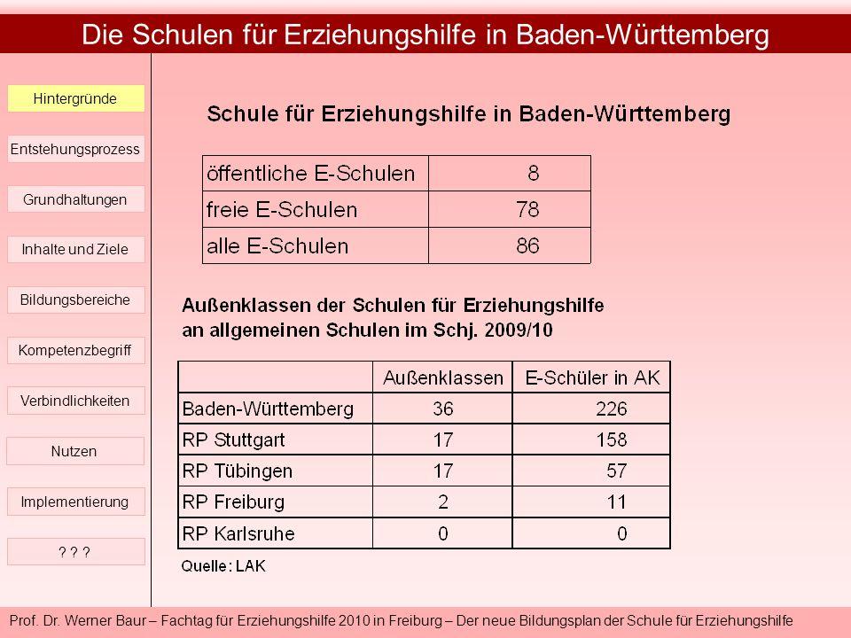 Die Schulen für Erziehungshilfe in Baden-Württemberg