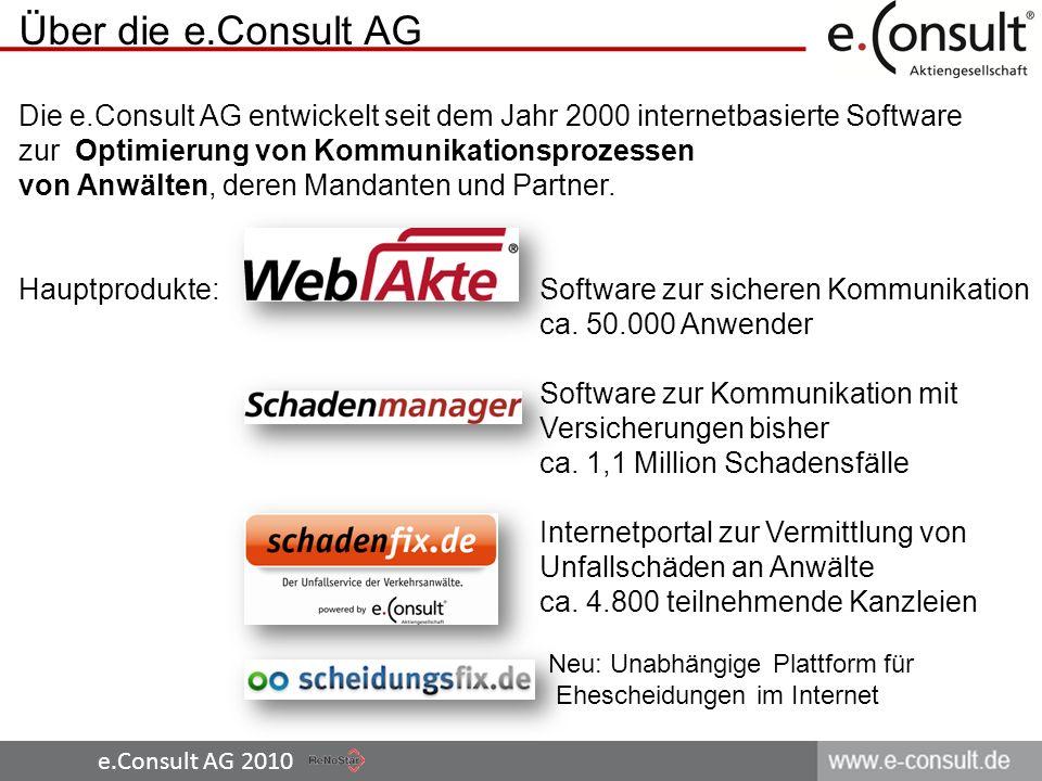 Über die e.Consult AG Die e.Consult AG entwickelt seit dem Jahr 2000 internetbasierte Software.