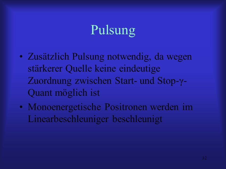 Pulsung Zusätzlich Pulsung notwendig, da wegen stärkerer Quelle keine eindeutige Zuordnung zwischen Start- und Stop-γ-Quant möglich ist.