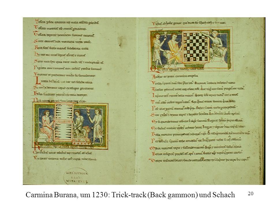 Carmina Burana, um 1230: Trick-track (Back gammon) und Schach