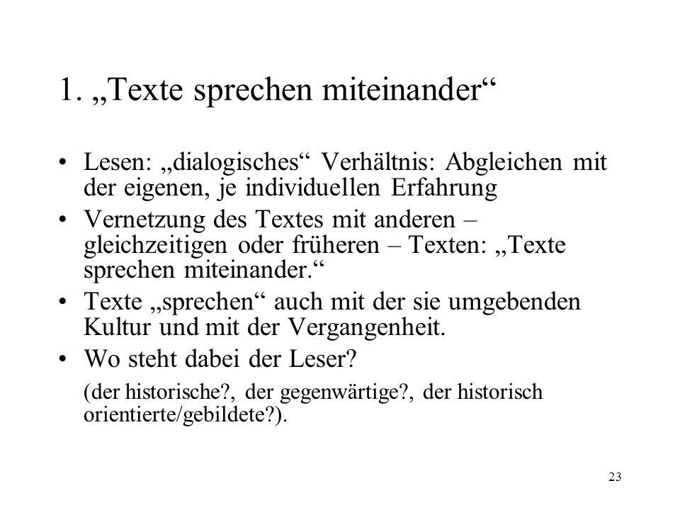 """1. """"Texte sprechen miteinander"""