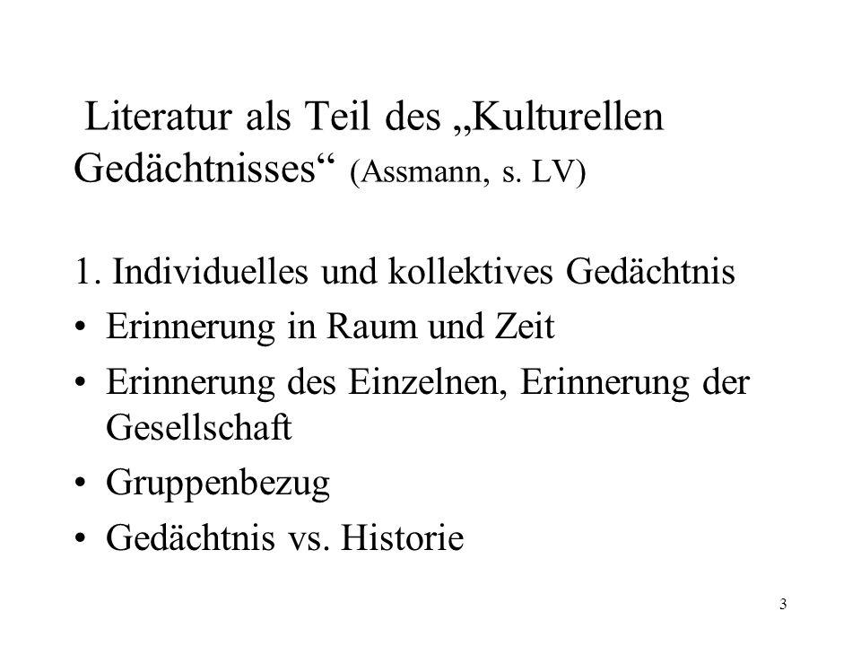 "Literatur als Teil des ""Kulturellen Gedächtnisses (Assmann, s. LV)"