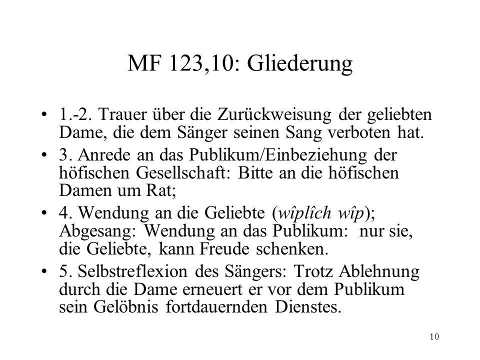 MF 123,10: Gliederung 1.-2. Trauer über die Zurückweisung der geliebten Dame, die dem Sänger seinen Sang verboten hat.