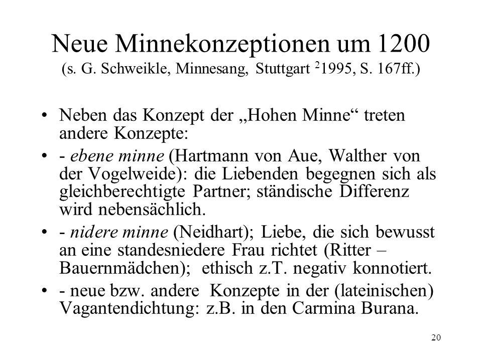 Neue Minnekonzeptionen um 1200 (s. G