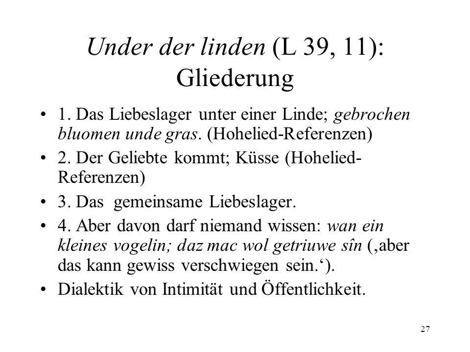 Under der linden (L 39, 11): Gliederung