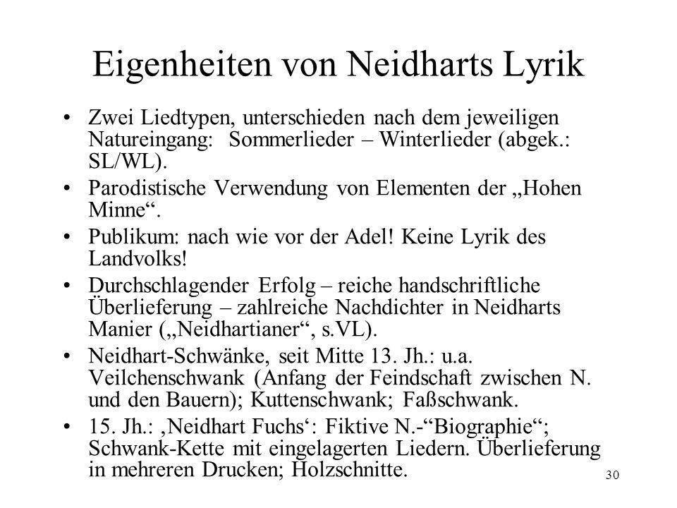 Eigenheiten von Neidharts Lyrik