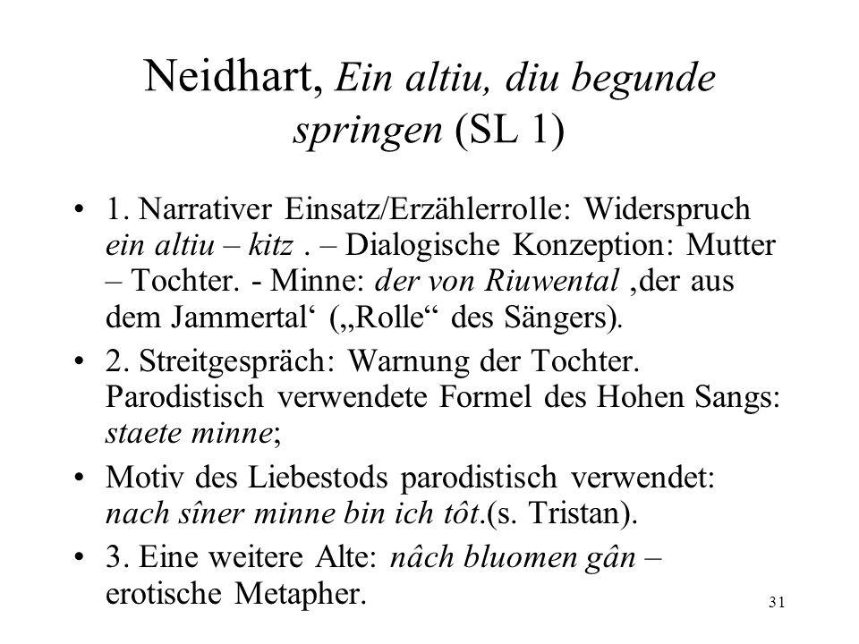 Neidhart, Ein altiu, diu begunde springen (SL 1)