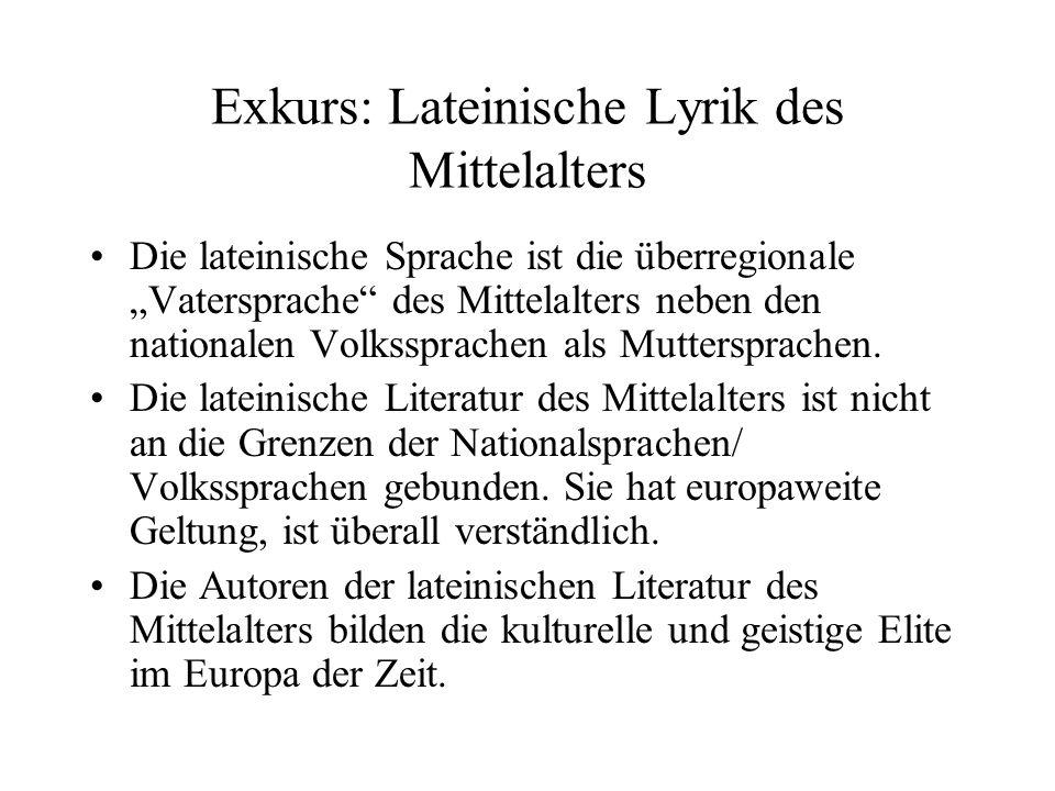 Exkurs: Lateinische Lyrik des Mittelalters
