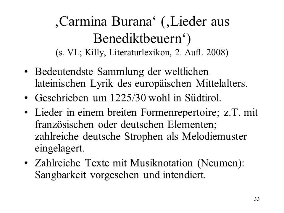 'Carmina Burana' ('Lieder aus Benediktbeuern') (s