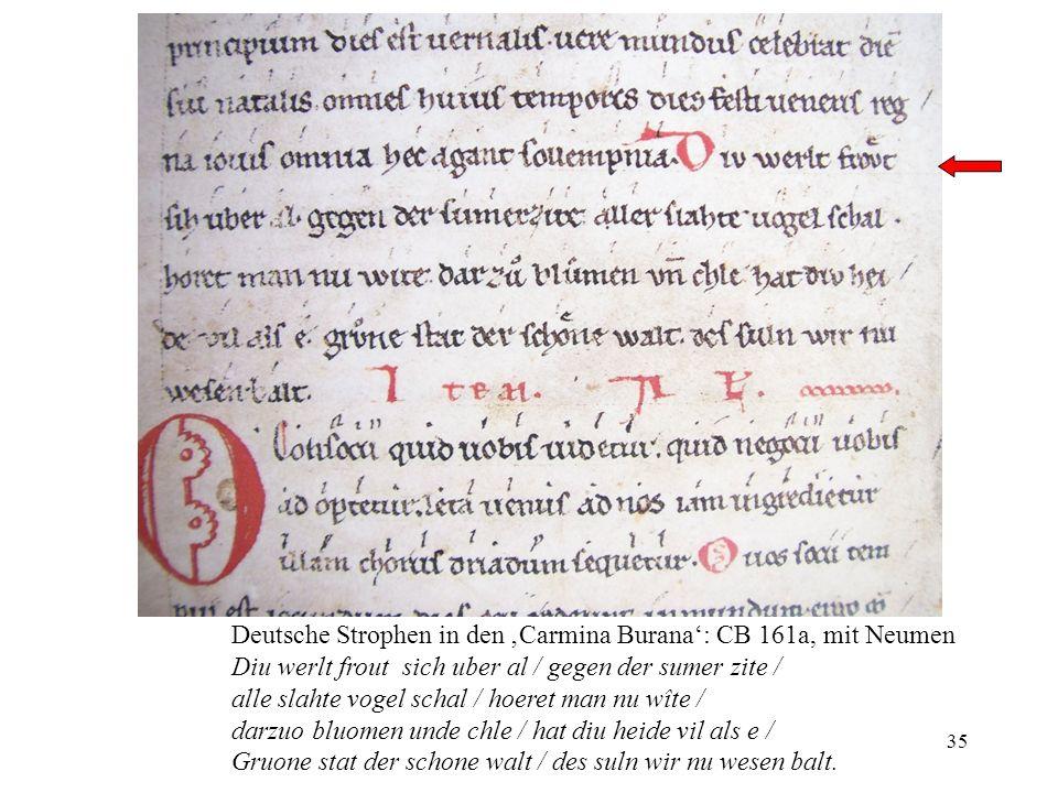 Deutsche Strophen in den 'Carmina Burana': CB 161a, mit Neumen