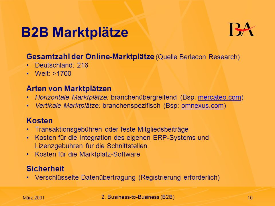 B2B Marktplätze Gesamtzahl der Online-Marktplätze (Quelle Berlecon Research) Deutschland: 216. Welt: >1700.