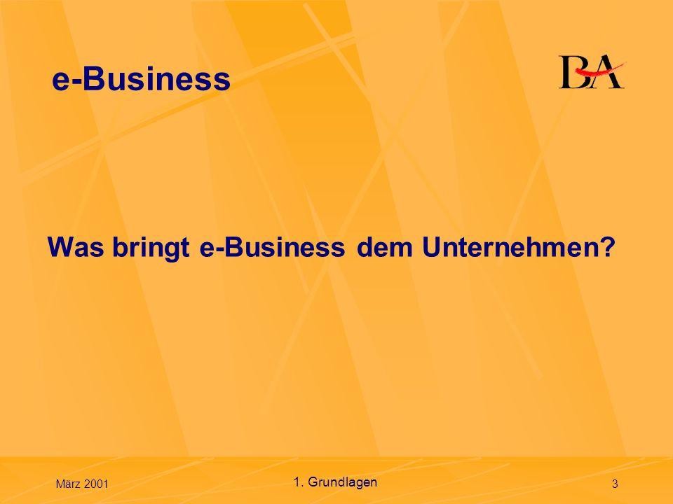 e-Business Was bringt e-Business dem Unternehmen 1. Grundlagen