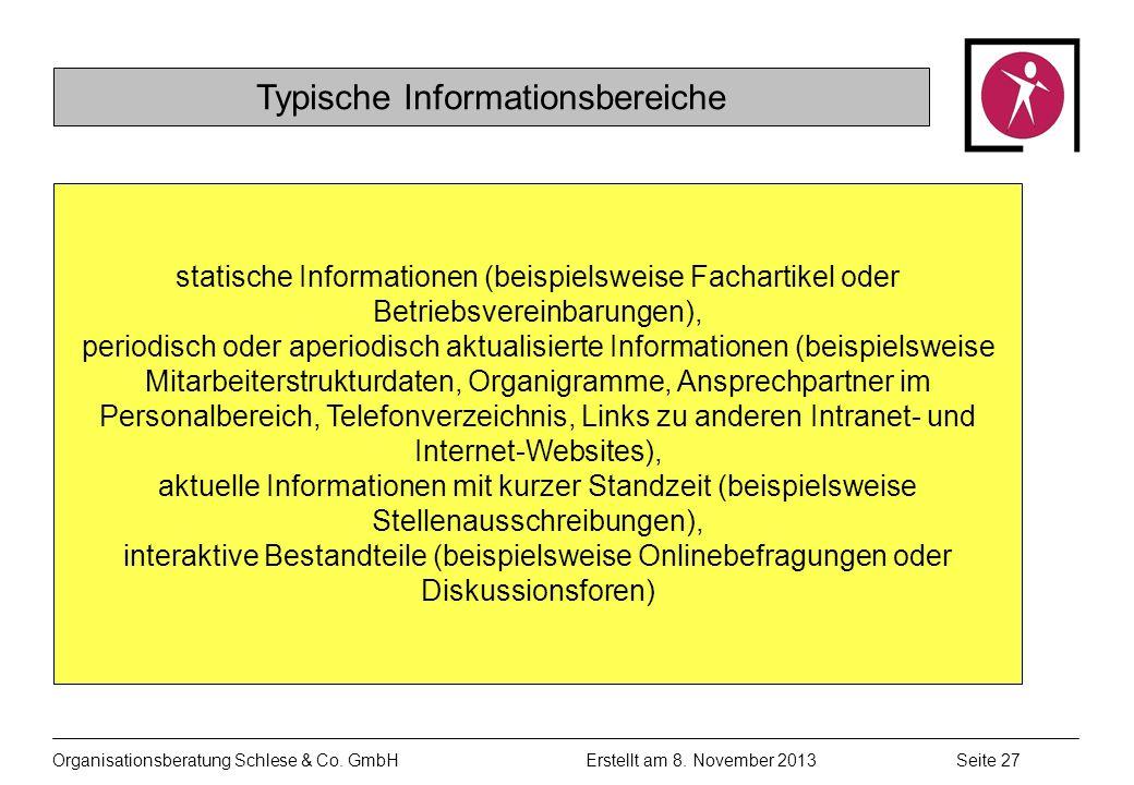 Typische Informationsbereiche