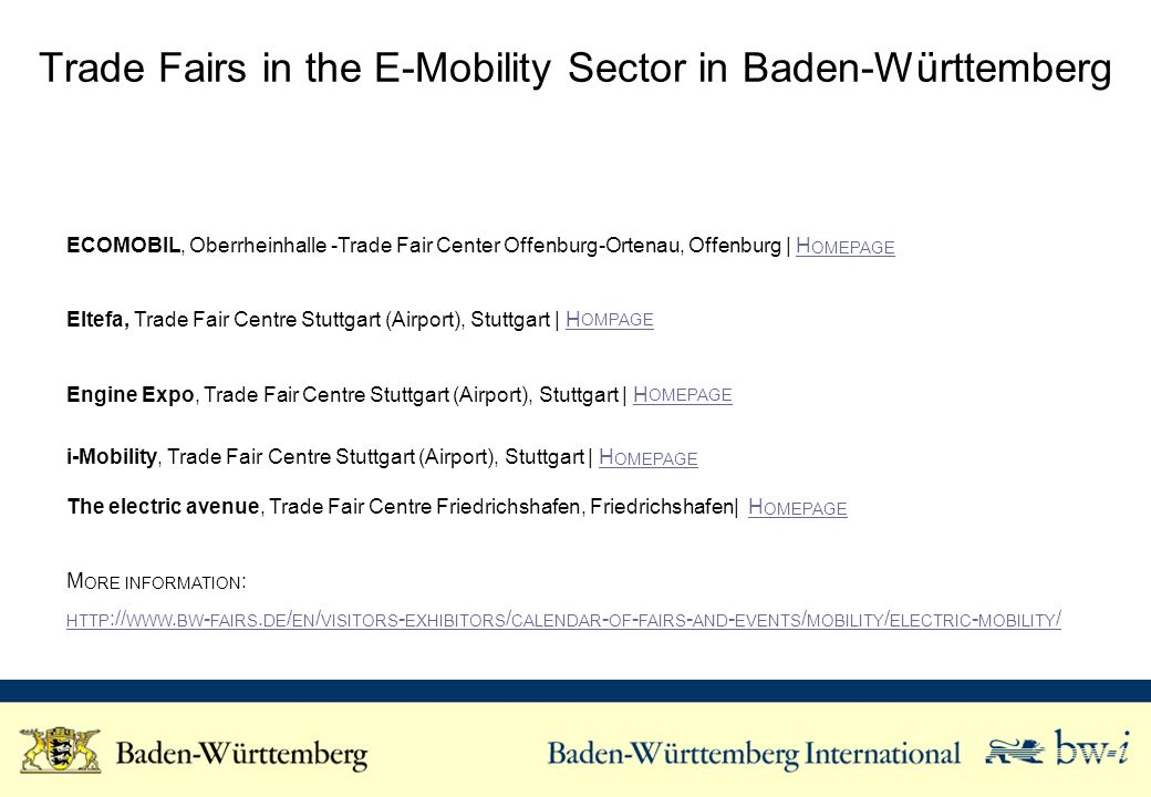 Trade Fairs in the E-Mobility Sector in Baden-Württemberg