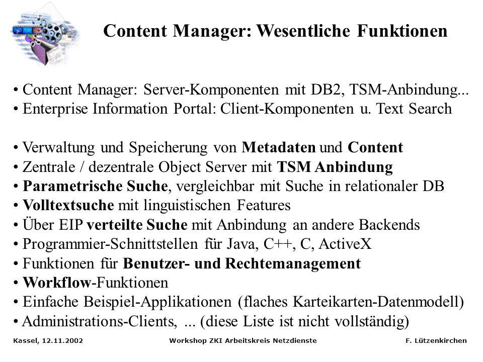 Content Manager: Wesentliche Funktionen