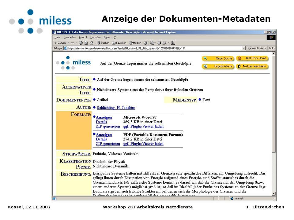 Anzeige der Dokumenten-Metadaten