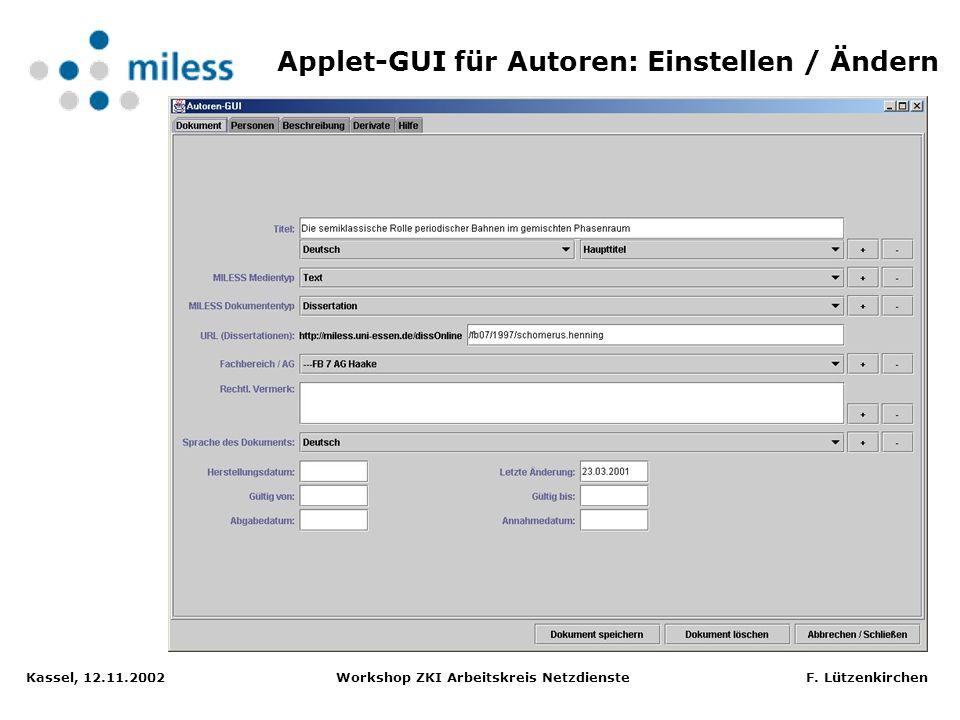 Applet-GUI für Autoren: Einstellen / Ändern