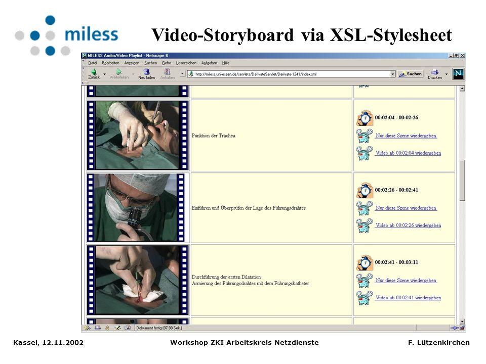 Video-Storyboard via XSL-Stylesheet