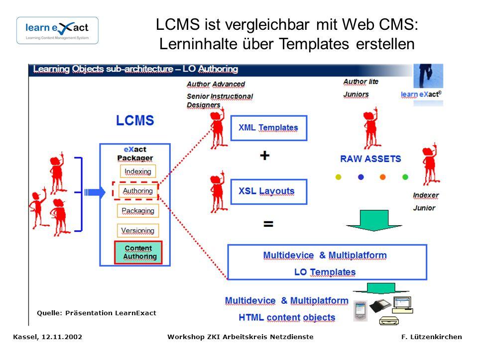 LCMS ist vergleichbar mit Web CMS: Lerninhalte über Templates erstellen