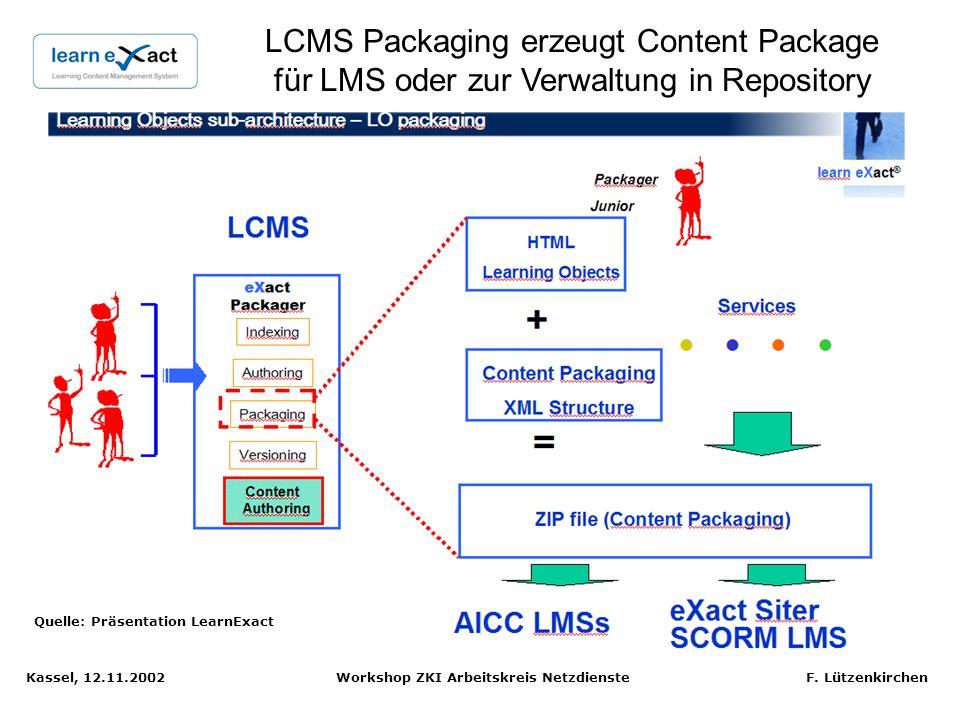 LCMS Packaging erzeugt Content Package für LMS oder zur Verwaltung in Repository
