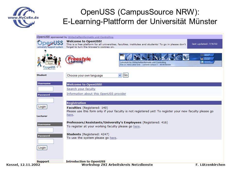 OpenUSS (CampusSource NRW): E-Learning-Plattform der Universität Münster