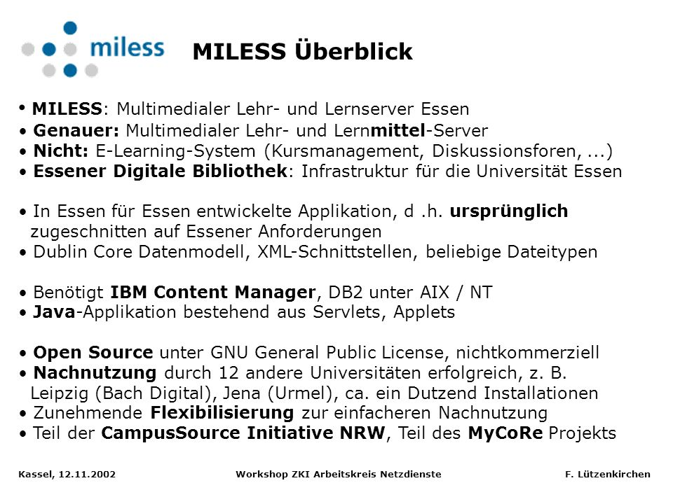 MILESS: Multimedialer Lehr- und Lernserver Essen