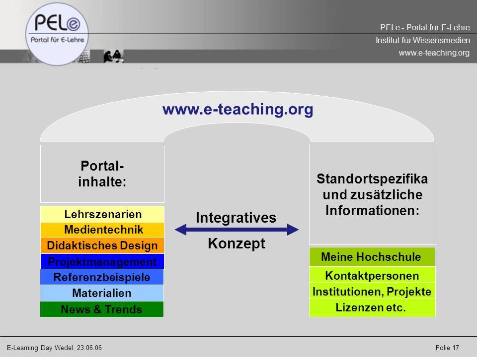 www.e-teaching.org Integratives Konzept Portal- inhalte: