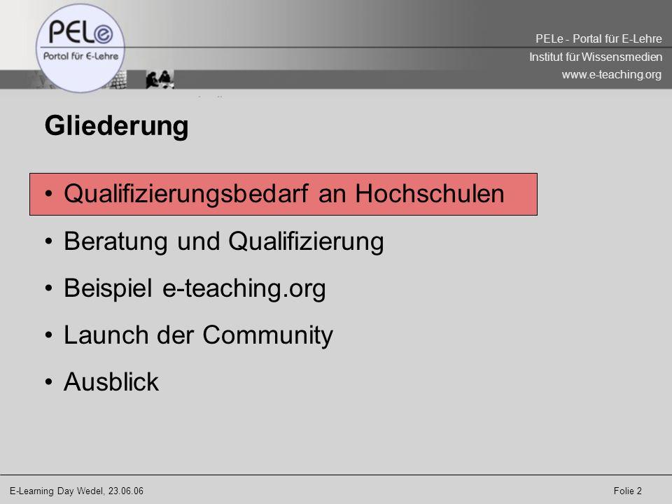 Gliederung Qualifizierungsbedarf an Hochschulen