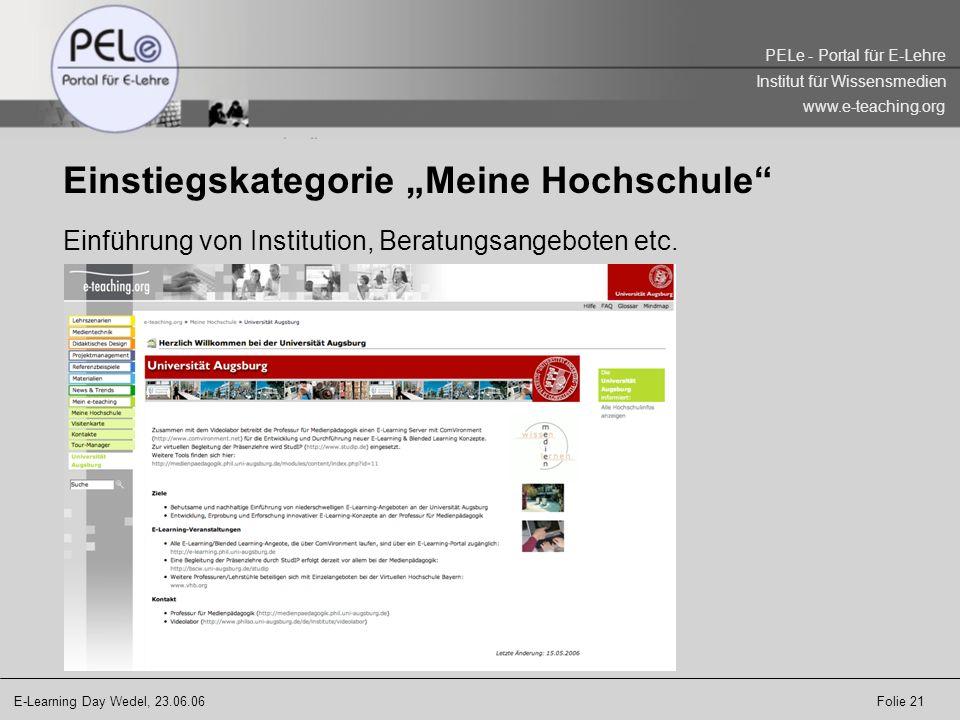 """Einstiegskategorie """"Meine Hochschule"""