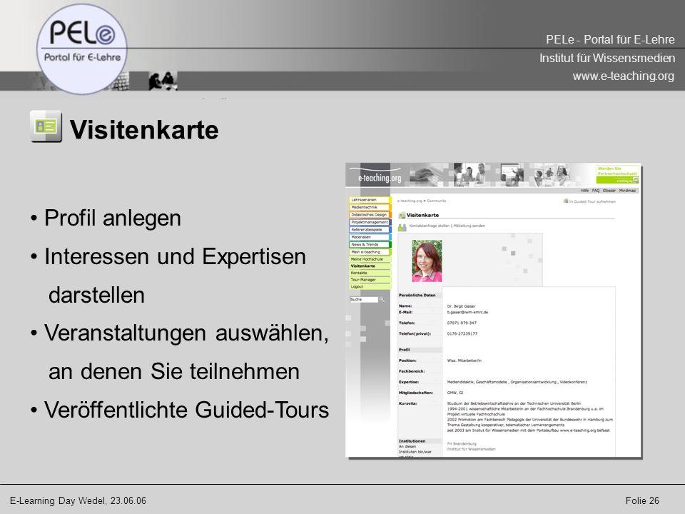 Visitenkarte Profil anlegen Interessen und Expertisen darstellen