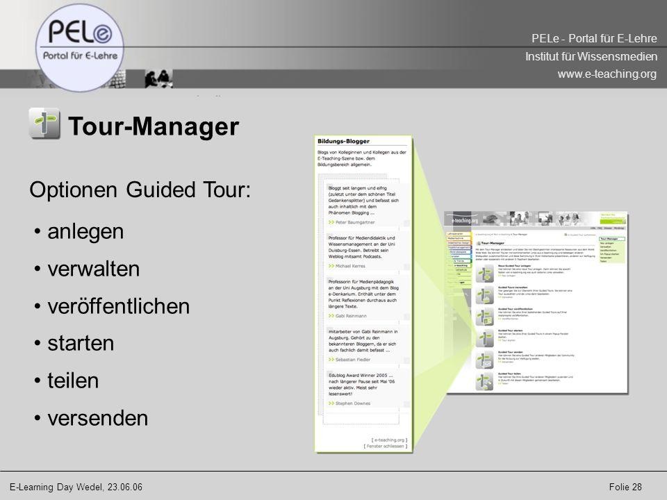 Tour-Manager Optionen Guided Tour: anlegen verwalten veröffentlichen