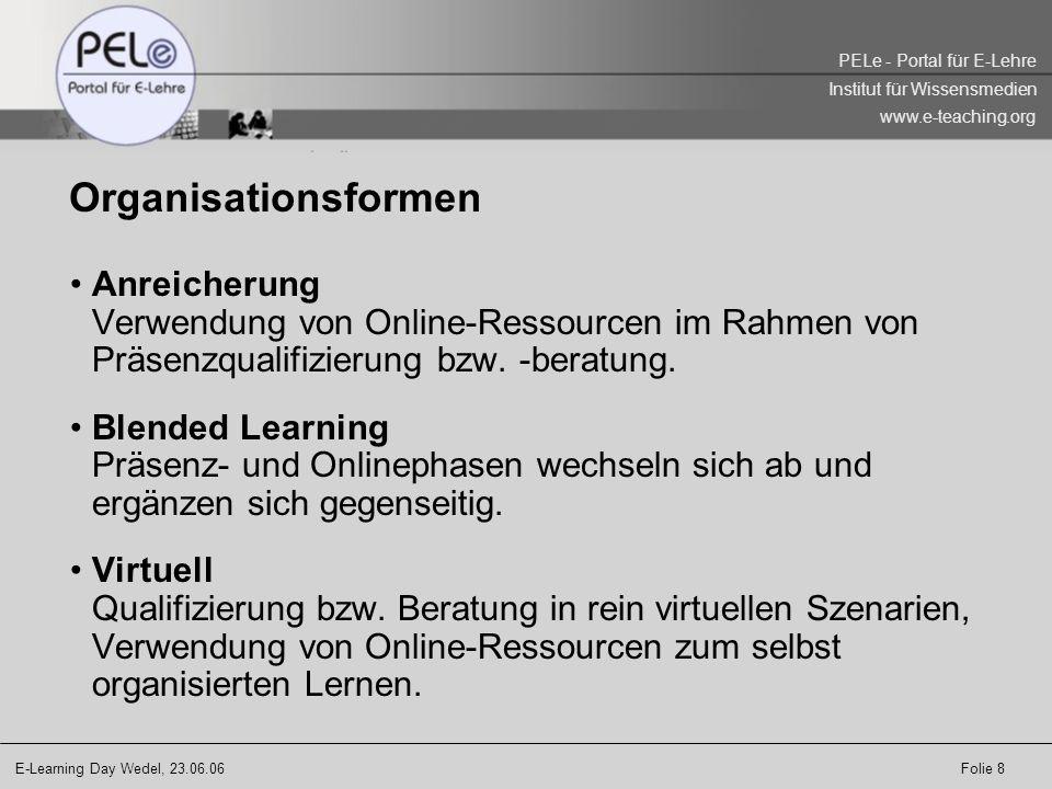 Organisationsformen Anreicherung Verwendung von Online-Ressourcen im Rahmen von Präsenzqualifizierung bzw. -beratung.