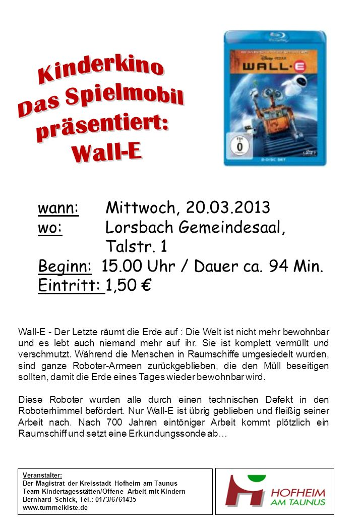 Kinderkino Das Spielmobil präsentiert: Wall-E