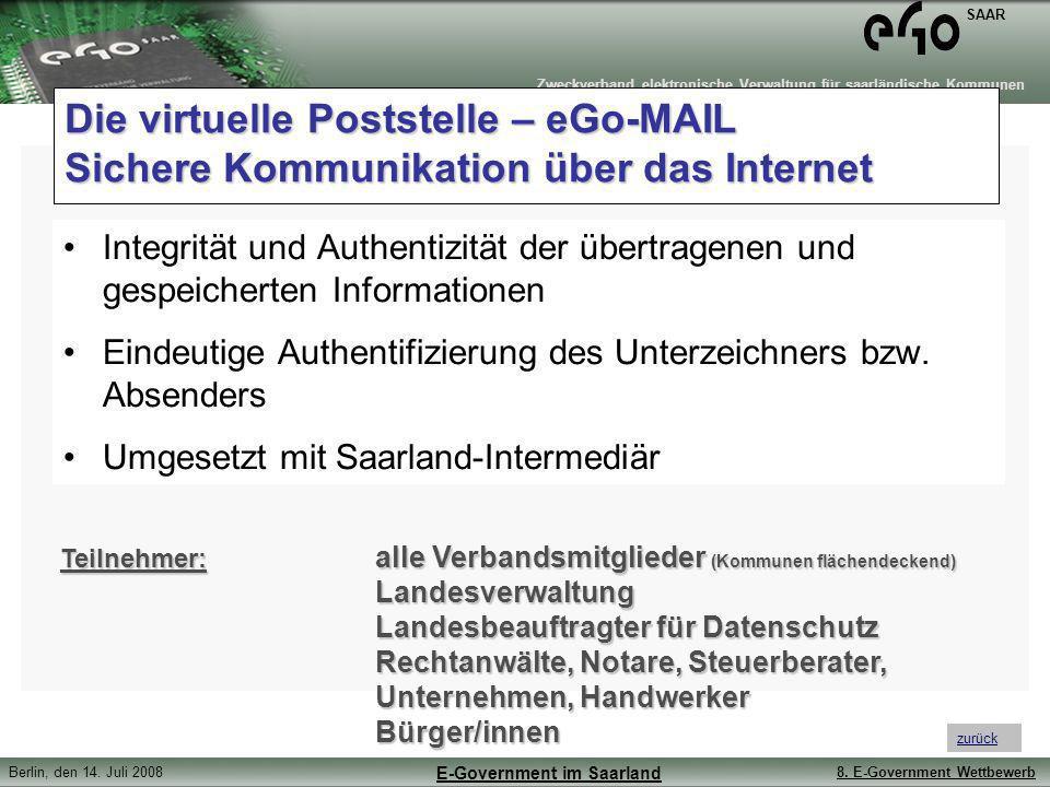 Die virtuelle Poststelle – eGo-MAIL Sichere Kommunikation über das Internet