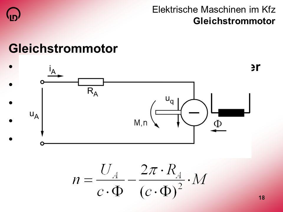 Elektrische Maschinen im Kfz Gleichstrommotor