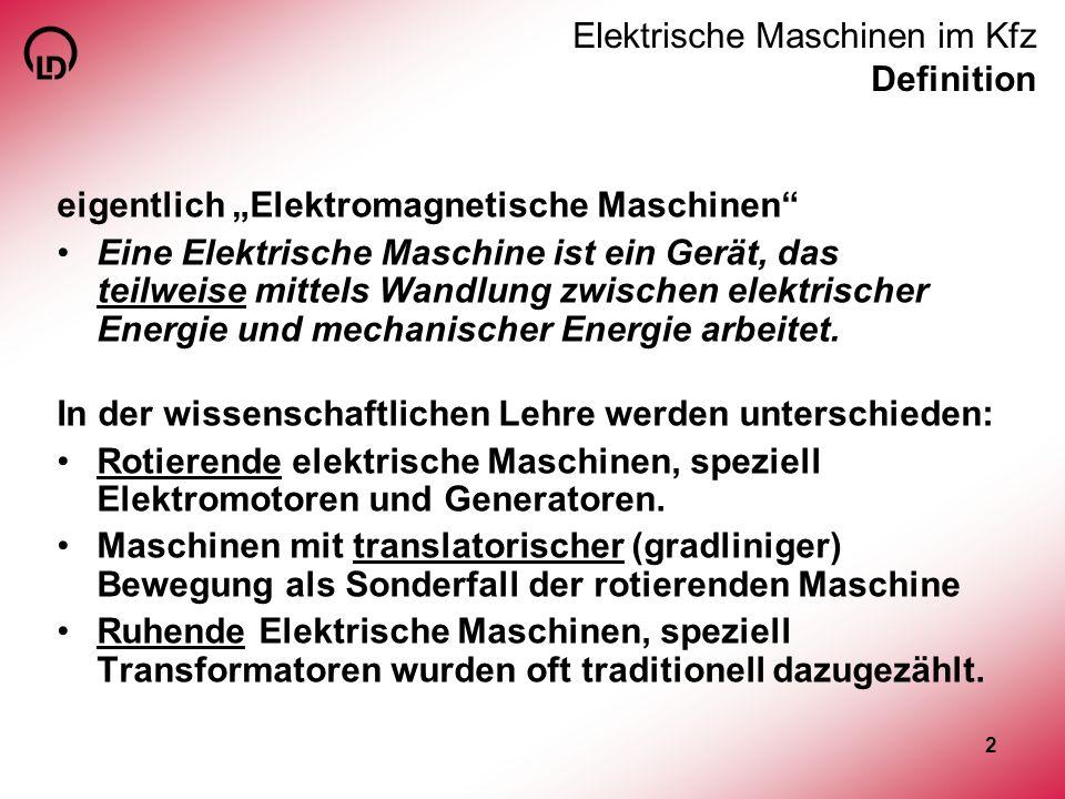 Elektrische Maschinen im Kfz Definition