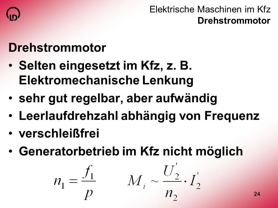 Elektrische Maschinen im Kfz Drehstrommotor
