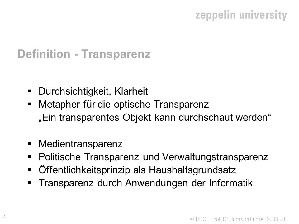 Definition - Transparenz
