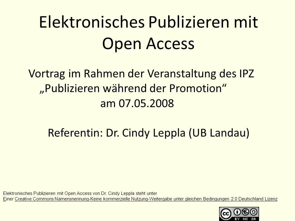 Elektronisches Publizieren mit Open Access