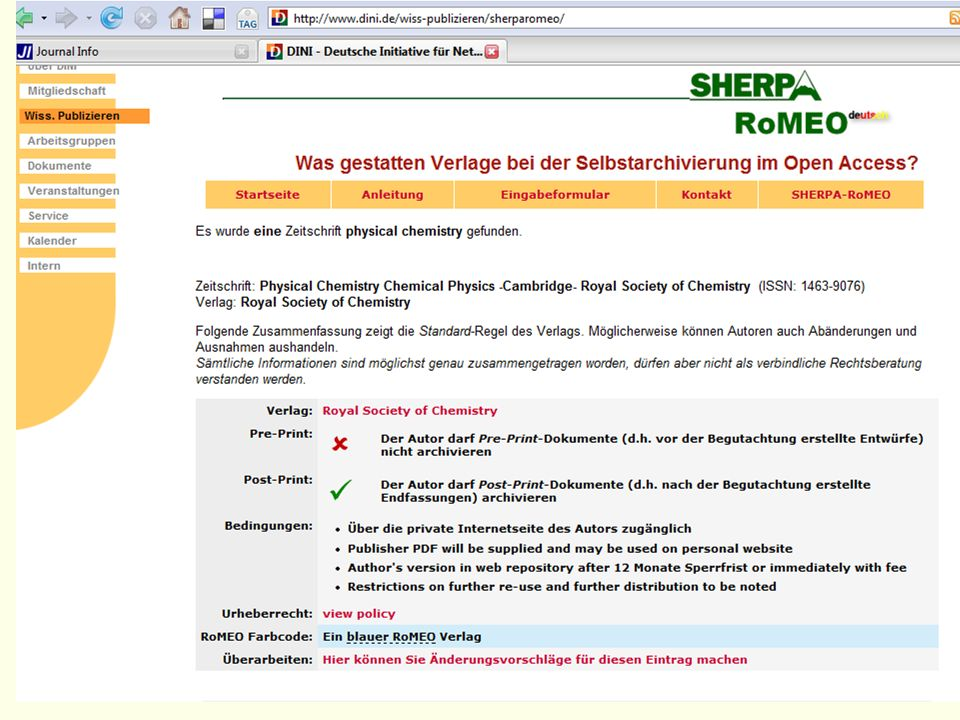 Nach Klick auf den Suchen-Button sehe ich, dass die Zeitschrift von der Royal Society of Chemistry herausgegeben wird.