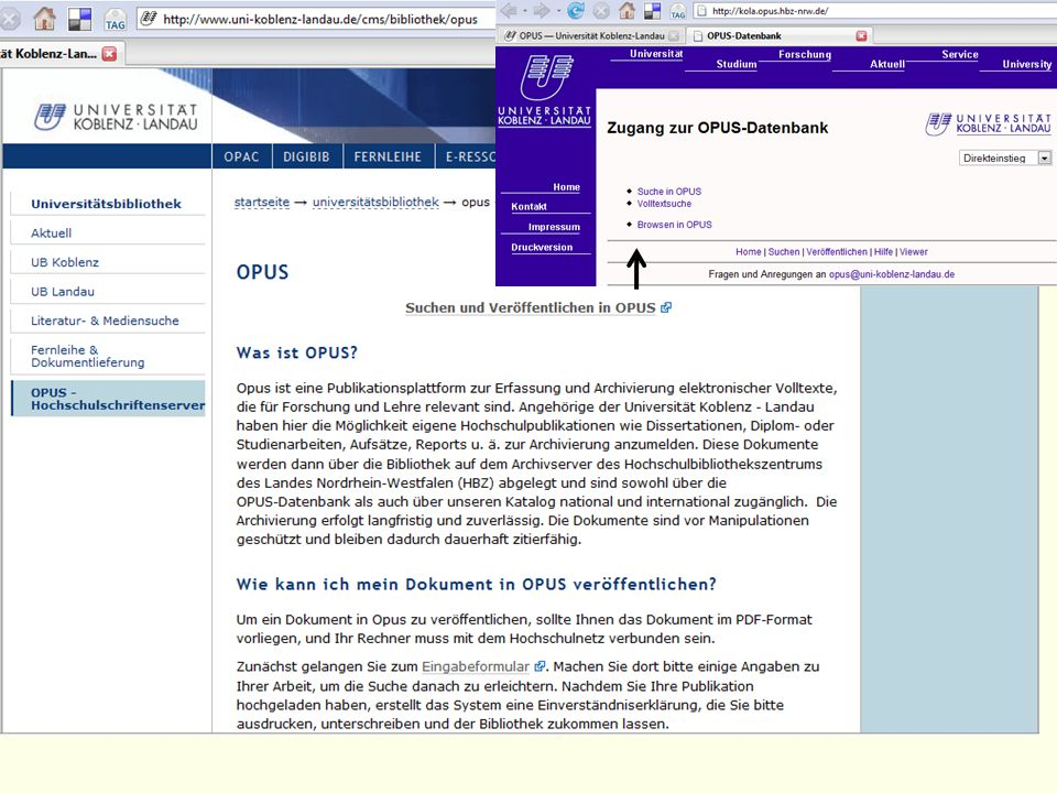 Am einfachsten gelangen Sie zum OPUS-Server über die Homepage der UB