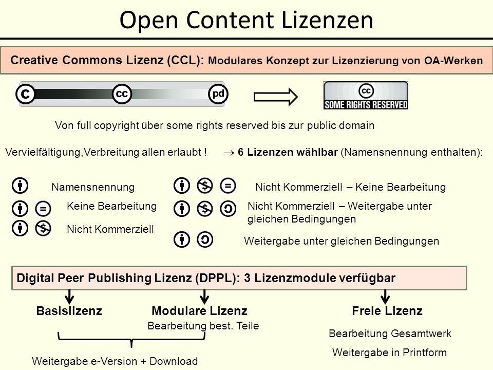 Open Content Lizenzen Creative Commons Lizenz (CCL): Modulares Konzept zur Lizenzierung von OA-Werken.