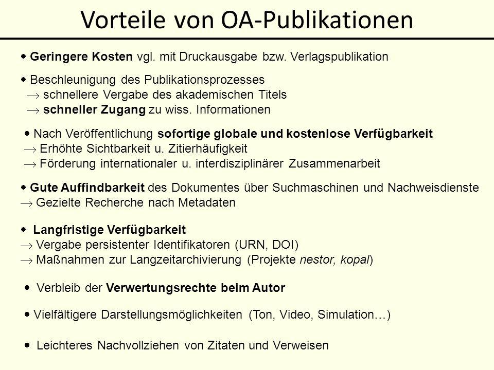 Vorteile von OA-Publikationen
