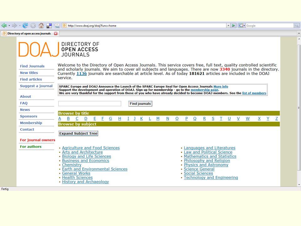 Nun zum Directory of Open Access Journals (DOAJ).