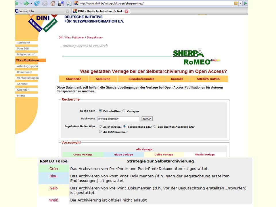 Zur SHERPA/ROMEO-Liste: