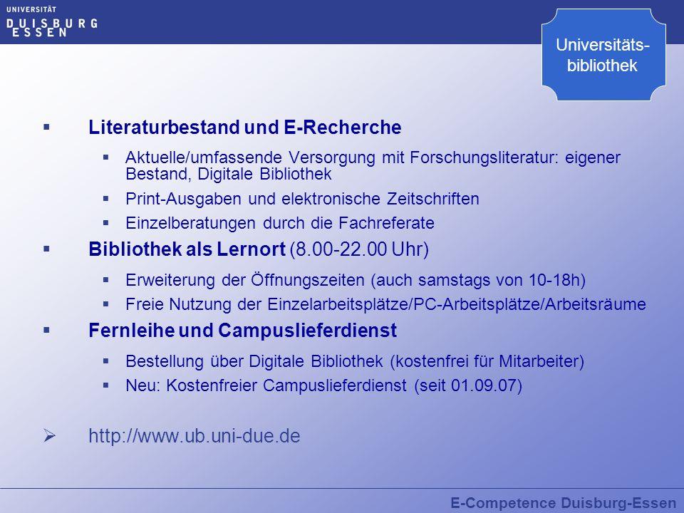 Literaturbestand und E-Recherche